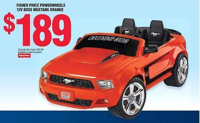 Navy Exchange Black Friday: Fisher Price Powerwheels 12V Boss Mustang Orange for $189.00