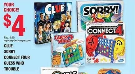 Navy Exchange Black Friday: Clue, Sorry, Connect Four, Guess Who or Trouble Board Games for $4.00