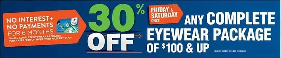 Navy Exchange Black Friday: Any Complete Eyewear Package of $100 or Up - 30% off
