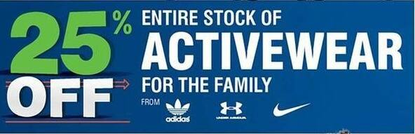 Navy Exchange Black Friday: Entire Stock of Activewear - 25% off