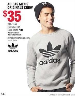 Navy Exchange Black Friday: Adidas Men's Original Crew for $35.00