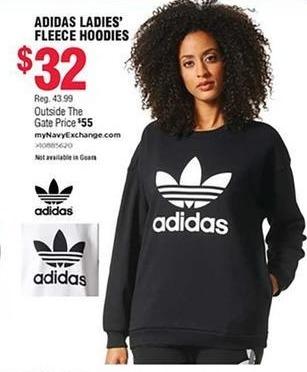 Navy Exchange Black Friday: Adidas Ladies' Fleece Hoodies for $32.00