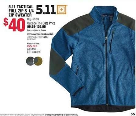 Navy Exchange Black Friday: 5.11 Tactical Full Zip & 1/4 Zip Sweater for $40.00