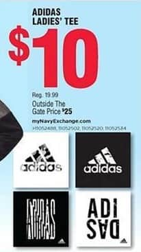 Navy Exchange Black Friday: Adidas Ladies' Tee for $10.00