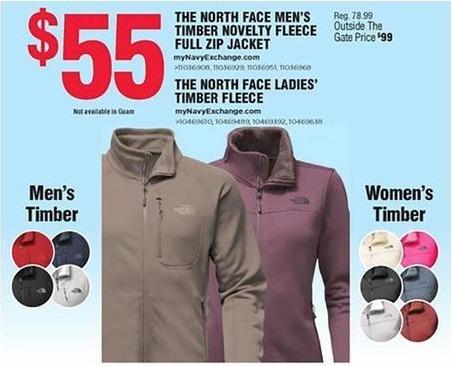Navy Exchange Black Friday: The North Face Men's or Ladies' Timber Novelty Fleece Full Zip Jacket for $55.00