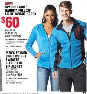 Navy Exchange Black Friday: Spyder Men's Light Weight Sweater Fleece Full Zip Jacket for $60.00