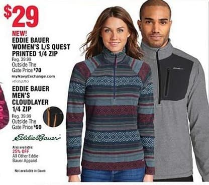 Navy Exchange Black Friday: Eddie Bauer Men's Cloudlayer 1/4 Zip for $60.00
