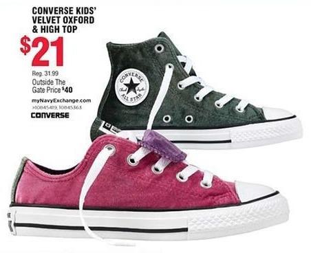 Navy Exchange Black Friday: Converse Kids' Velvet Oxford & High Top for $21.00