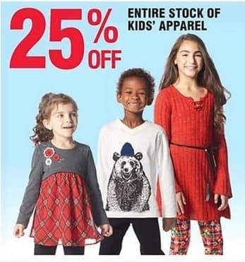Navy Exchange Black Friday: Entire Stock of Kids' Apparel - 25% off