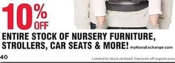 Navy Exchange Black Friday: Entire Stock of Nursery Furniture, Strollers, Car Seats & More - 10% off