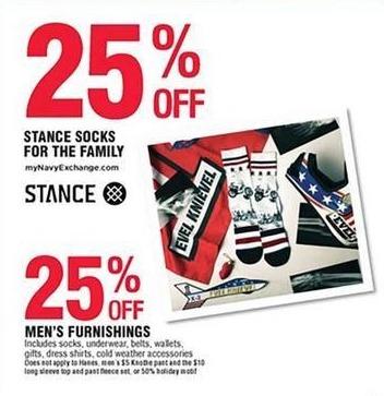 Navy Exchange Black Friday: Men's Furnishings - 25% off