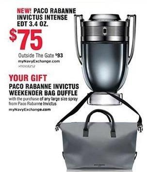 Navy Exchange Black Friday: Paco Rabanne Invictus Intense EDT 3.4 oz. + Free Paco Rabanne Invictus Weekender Bag Duffle for $75.00
