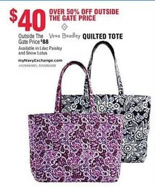 Navy Exchange Black Friday: Vera Bradlet Quilted Tote for $40.00