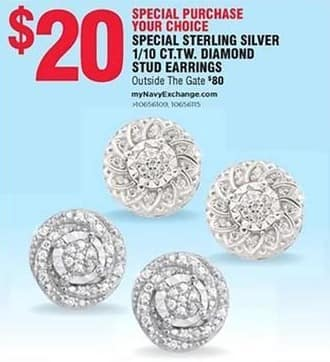 Navy Exchange Black Friday: Special Sterling Silver 1/10 ct. t.w Diamond Stud Earrings for $20.00