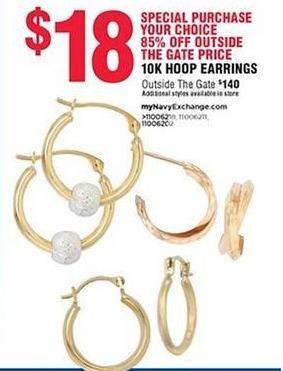 Navy Exchange Black Friday: 10k Hoop Earrings for $18.00