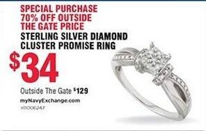 Navy Exchange Black Friday: Sterling Silver Diamond Cluster Promise Ring for $34.00
