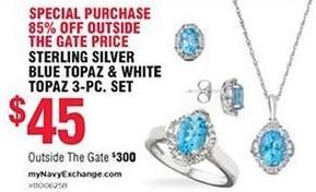 Navy Exchange Black Friday: Sterling Silver Blue Topaz & White Topaz 3-pc. Set for $45.00