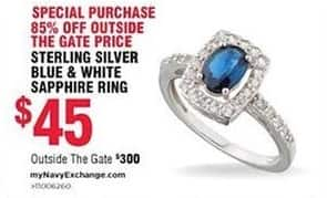 Navy Exchange Black Friday: Sterling Silver Blue & White Sapphire Ring for $45.00