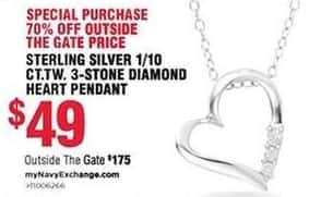 Navy Exchange Black Friday: Sterling Silver 1/10 ct t.w. 3-Stone Diamond Heart Pendant for $49.00