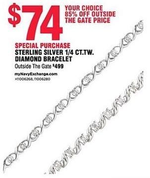 Navy Exchange Black Friday: Sterling Silver 1/4 ct. t.w. Diamond Bracelet for $74.00