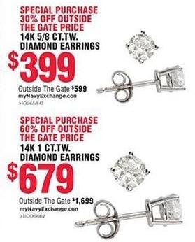 Navy Exchange Black Friday: 14k 1 ct. t.w. Diamond Earrings for $679.00