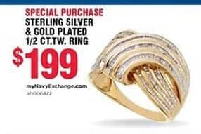 Navy Exchange Black Friday: Sterling Silver & Gold Plates 1/2 ct. t.w. Ring for $199.00