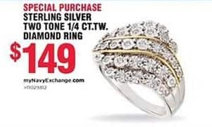 Navy Exchange Black Friday: Sterling Silver Two Tone 1/4 ct. t.w. Diamond Ring for $149.00