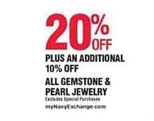 Navy Exchange Black Friday: All Gemstone & Pearl Jewelry - 20% Off + Extra 10% Off