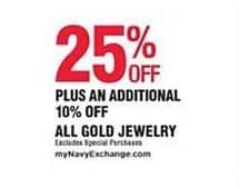 Navy Exchange Black Friday: All Gold Jewelry - 25% Off + Extra 10% Off