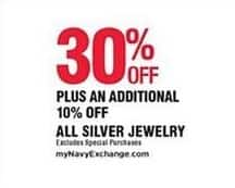 Navy Exchange Black Friday: All Silver Jewelry - 30% Off + Extra 10% Off