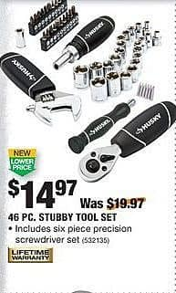 Home Depot Black Friday: Husky 46-pc Stubby Tool Set for $14.97
