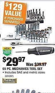 Home Depot Black Friday: Husky 65-pc Mechanics Tool Set for $29.97
