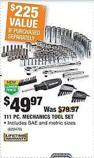 Home Depot Black Friday: Husky 111-pc Mechanics Tool Set for $49.97