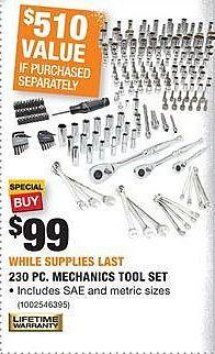 Home Depot Black Friday: Husky 230-pc Mechanics Tool Set for $99.00