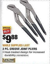 Home Depot Black Friday: Husky 2-pc Groove Joint Pliers for $9.88