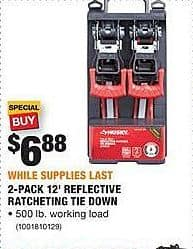 Home Depot Black Friday: Husky 2-Pack 12-Ft Reflective Ratcheting Tie Down for $6.88