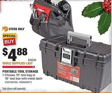 "Home Depot Black Friday: Husky 10"" Tool Bag or 16"" Tool Box w/ Metal Latch for $4.88"