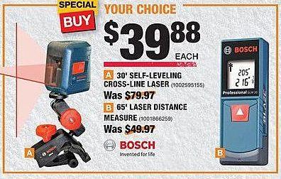 Home Depot Black Friday: Bosch 30-ft Self-Leveling Cross-Line Laser or 65-ft Laser Distance Measure for $39.88