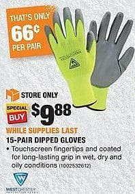 Home Depot Black Friday: West Chester 15-Pair Dipped Gloves for $9.88