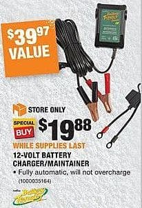 Home Depot Black Friday: Battery Tender 12-Volt Battery Charger/Maintainer for $19.88