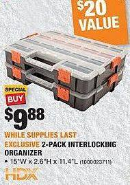 Home Depot Black Friday: HDX 2-Pack Interlocking Organizer for $9.88