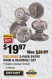 Home Depot Black Friday: Defiant 2-Pack Entry Knob and Deadbolt Set for $19.97