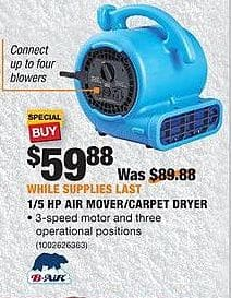 Home Depot Black Friday: B-Air 1/5 HP Air Mover/Carpet Dryer for $59.88