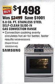 Home Depot Black Friday: LG 6.3 Cu. Ft. Stainless Steel Slide-In Electric Convection Range (LSE4613ST) for $1,198.00