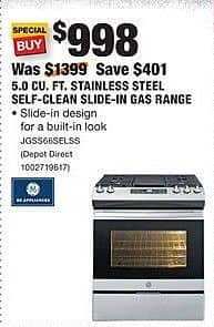 Home Depot Black Friday: GE Appliances 5.0 Cu. Ft. Stainless Steel Self-Clean Slide-In Gas Range (JGSS66SELSS) for $998.00