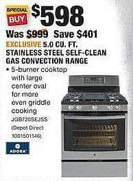 Home Depot Black Friday: GE Adora 5.3 Cu. Ft. Stainless Steel Self-Clean Electric Convection Range (JB755SJSS) for $648.00