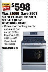 Home Depot Black Friday: Samsung 5.8 Cu. Ft. Stainless Steel Self-Clean Gas Convection Range (NX58H5600SS) for $598.00