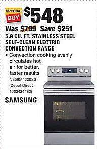 Home Depot Black Friday: Samsung 5.9 Cu. Ft. Stainless Steel Self-Clean Electric Convection Range (NE59M4320SS) for $548.00