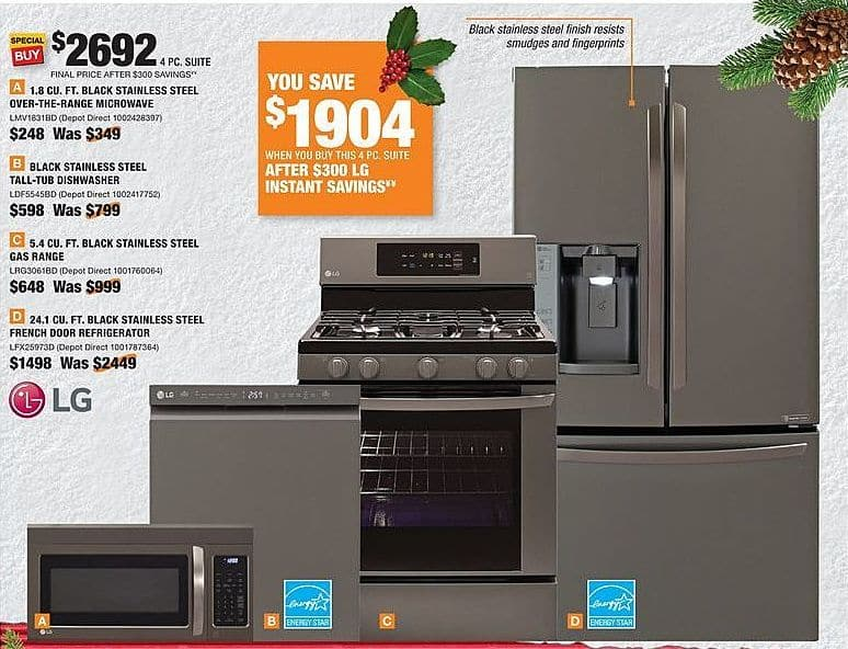 Home Depot Black Friday: LG 4-Piece Black Stainless Steel Major Appliance Suite for $2,692.00