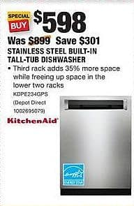 Home Depot Black Friday: KitchenAid Stainless Steel Built-In Tall-Tub Dishwasher (KDPE234GPS) for $598.00